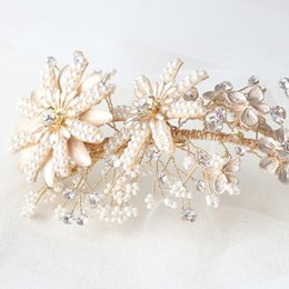 Crystal Flowers For Weddings Australia - Chic Bridal Hair Bands Wedding Headdress Gold Metal Flower with Pearls Crystals Headbands Hair Accessories for Brides