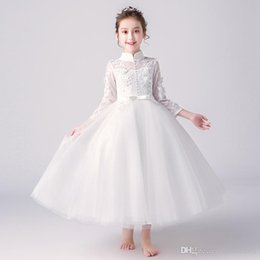 kids girl evening dress Canada - Fashion Lace Flower Girl Dresses 2019 Soft Tulle O-Neck Kids Evening Gowns Ball Gown Girl Prom Dresses Pageant Dresses