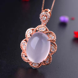 pink quartz rose pendant Australia - Fashion- natural pink rose quartz gem necklace women silver necklace 925 sterling silver fluorescent gem birthday party gift