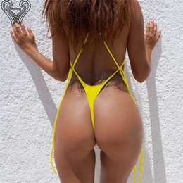 String Swimsuits Women Australia - Bkning Sexy Thong Bikini Set High Cut Swimsuit G String Bathing Suit Strappy Brazilian Biquini 2018 Summer Women Swimming