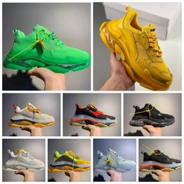 Women s flat leather shoes online shopping - 2019 Paris Triple S FW Crystal Bottom Green Luxury Dad Shoes Platform Triple S Sneakers for Mens Women Vintage Kanye Old Grandpa Trainer