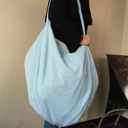 $enCountryForm.capitalKeyWord NZ - 20pcs Handbag Women Men Oversized Polyester Large Stripes Open Hobo Beach Bags Kids Beach Toys Receive Bag Seersucker Summer A418010