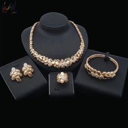 indian bangles accessories Australia - Yulaili Luxury African Flower Crystal Necklace Earrings Bangle Ring Bridal Jewelry Sets for Nigeria Women Party Gift Wedding Accessories