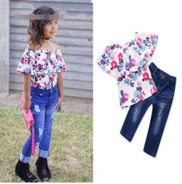 Short T Shirt Model Girl Australia - new children's clothing summer explosion models baby girls 2 piece set word shoulder floral t shirt + trousers kids clothes