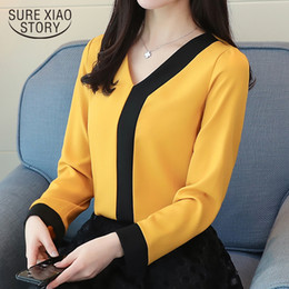 $enCountryForm.capitalKeyWord Australia - 2019 fashion chiffon office lady shirt women blouse long sleeve V-neck women tops patchwork women's clothing shirts Tops D826 30 T519053101