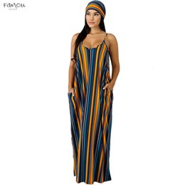 striped maxi dress size Australia - Plus Size Long Maxi Dress Women V-Neck Striped Print Boho Bohemian Beach Dress Spaghetti Strap Club Sexy Bandage Party Dresses