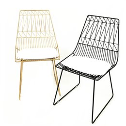 room chairs NZ - New 100% Metal Iron Leisure Chair Gold Living Room Furniture Fashion Gold Black Dining Chair Bar Chair