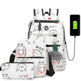$enCountryForm.capitalKeyWord Australia - 3 Pcs set Usb Charging Canvas Women Backpack Printing School Backpacks Schoolbag For Teenagers Student Book Bag Girl Boy Satchel Y19051405