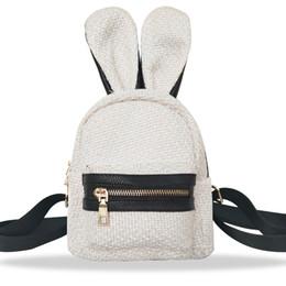 Cute Backpacks For Teenage Girls Australia - Hot Sale Fashion Girl Linen Woven School Bag Zipper Backpack Satchel Women Travel Shoulder Bag Rabbit Cute For Teenage Girl