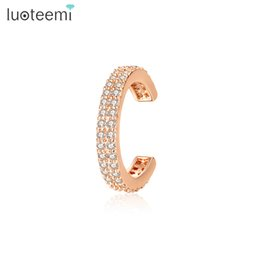 girls wearing earrings NZ - LUOTEEMI Brand Design Punk Clip Earrings for Women Girls Party Daily Wear Individuality Simple Three Color Fashion Jewelry Gift