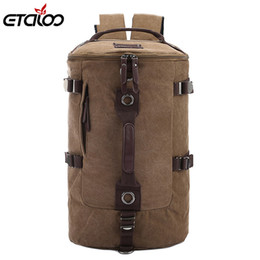 Large Capacity Backpack Australia - Large Capacity Man Travel Bag Mountaineering Backpack Men Bags Canvas Bucket Shoulder Backpack 012 Y19061004