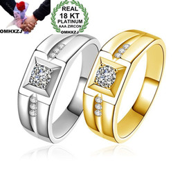 yellow gold men Australia - OMHXZJ Wholesale Personality Fashion Man Male Party Wedding Gift Square Zircon 18KT Yellow Gold White Gold Ring RN34