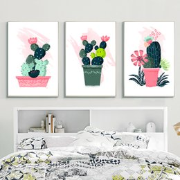 $enCountryForm.capitalKeyWord Australia - wholesale diamond painting Triptych Plant Cactus Flower Poster Minimalist Art Deco diamond embroidery Wall Picture Living Room decor