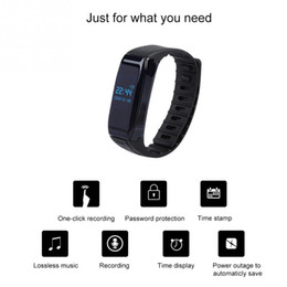 Discount bracelet recorder - 8G HD recording Wearable Wireless Audio Recording Voice Activated Recorder Bracelet MP3 Player voice