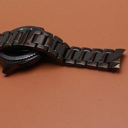 Gear Curved Australia - Ceramic Watch Band Strap solid Link Bracelet fit gear s3 men wristwatchband 22mm polished black watchbands new curved ends 2017