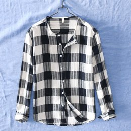 c372b6316d0 Collarless Shirts Australia - Quality Mens Linen Cotton Collarless Shirts  Plaid Long Sleeve Casual Shirt Men