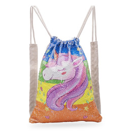 $enCountryForm.capitalKeyWord Australia - Sequins Mermaid Backpack Unicorn Reversible Drawstring Bag Outdoor Sports Magic Shoulder Bag Home Storage Bags 26pcs Ooa5852
