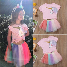 $enCountryForm.capitalKeyWord NZ - 2019 baby girl outfits Unicorn 2pcs Skirts Suits Sets Cartoon Cotton Pink T-shirt+rainbow Skirts baby tracksuit Kids outfits boutique Cloth