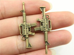 Charm making maChines online shopping - 100pcs Gun Pendant Machine Gun Charm For Jewelry Making Colors Plated Vintage Jewelry Accessories Submachine Gun Charm x16mm