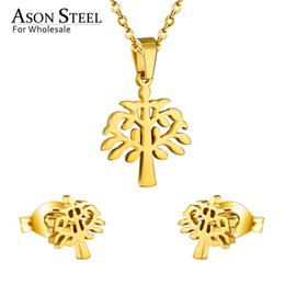 wholesale stainless steel necklace sets UK - ASONSTEEL Top 316L Stainless Steel Gold Color Jewelry Sets For Women 2019 Plant Pendant Necklace Small Stud Earrings For Femme