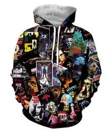 Top 3d movies online shopping - Fashion Autumn Winter Hoodies Men Women s Horror Movies Collage D Print Crewneck Hoodies Casual Pockets Sweatshirt Tops GQL0253