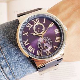 Wholesale 2019 New Ulysse Marine Maxi Steel Case Blue Dial Date Power Reserve Automatic Mens Watch Rubber Strap Sports Watch Colors