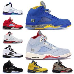 star 5s UK - 5 5s Basketball Shoes Trophy Room Michigan Desert camo Ice blue Retro PSG X Pairs star Red Suede 5 Mens jumpman Sports Sneakers