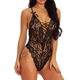 black teddy lingerie NZ - Women Sexy Girl Cute V-Neck Lace Teddy Lingerie Bandage Underwear Sleepdress Lingerie Sexy Hot Erotic Porno Z0210