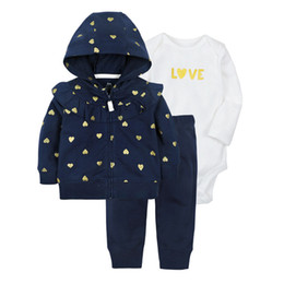 BaBy Blue coat suit online shopping - Baby Sets Kids Suit Pants Boys Girls Coat Rompers Trousers Kids Clothing Sets Long Sleeve Suit