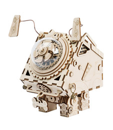 romantic music gifts UK - Robot dog Alien Model 3D Puzzle Crafts DIY creative romantic present Wooden music box Home decoration Children wood toy gift