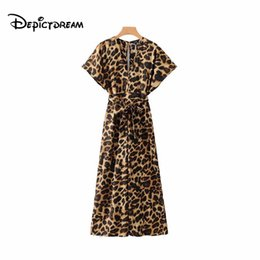 jumpsuits patterns NZ - 2019 women chic V neck leopard print jumpsuits animal pattern bow tie sashes short sleeve rompers female casual playsuits