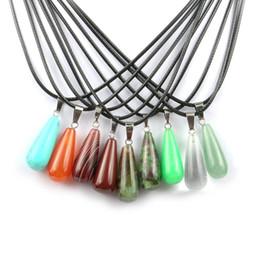 $enCountryForm.capitalKeyWord Australia - Natural Stone Crystal Quartz Opal Long Water Drop Pendant & Necklace Leather Chains For Men Women Fashion Jewelry