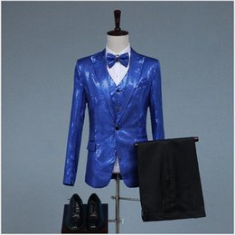 Discount night suit for summer - Shining Good Quality Men's Costume For Performance Popular Two Pieces (Blazer+Pant) Host Suits Night Club Clothes W