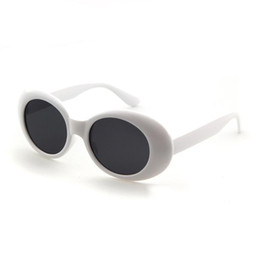 Chinese  Clout Goggles Retro Vintage White Black Oval Sunglasses NIRVANA Kurt Cobain Glasses Alien Shades 90s White Oval Sunglasses Punk Rock Eyewear manufacturers