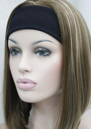Blonde half wigs online shopping - WIG Light Brown Blonde Mixed Cute with headband Women Hair half Wig ETLD104 Hivision