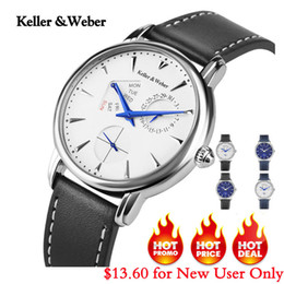 Round Clock Men Australia - Keller & Weber Men's Watches Luxury Brand Famous Unique Designer Genuine Leather Quartz Wrist Watch Men Clock Man Reloj Hombre C19010301