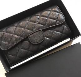 d4389f046 Mujeres carteras nuevas Famoso diseñador Piel genuina piel de cordero  caviar solapa monedero monedero largo titular de la tarjeta cluth todo  coincide con la ...