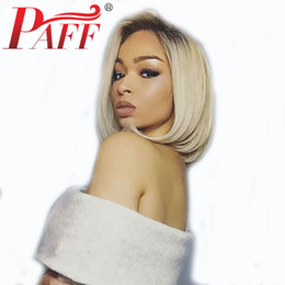 $enCountryForm.capitalKeyWord Australia - PAFF Blonde Ombre Full Lace Human Hair Wig with Dark Roots Brazilian Remy Hair 1b 613 Two-Tone Short Bob Wig for Women