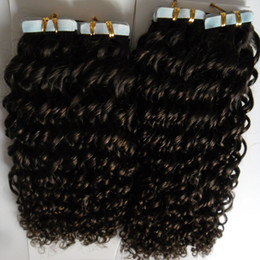 $enCountryForm.capitalKeyWord Australia - 200G afro kinky curly skin weft tape hair extensions 80pcs lot Tape In Human Hair Extensions afro kinky brazilian hair products