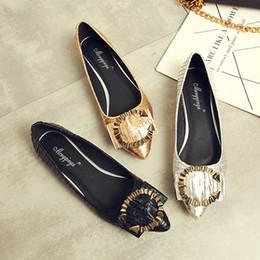 62250e83f балетки обувь женская металлическая пряжка слип на мокасины плиссированные  заостренные носки горки мелкая обувь женщина большой размер золото серебро  черный
