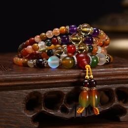 $enCountryForm.capitalKeyWord UK - 108pcs Prayer Bead Mala Bracelet necklace Natural Colorful Crystal Quartz Beads Buddhist Necklace Bracelet For Women Girls MX190718