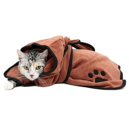 warming tables NZ - Dog Bathrobe Warm Dog Clothes Super Absorbent Pet Drying Towel Embroidery Paw Cat Hood Pet Bath Towel Grooming Pet Product