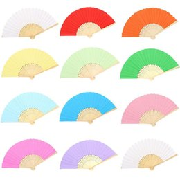 hand crafted gifts UK - Colorful Paper Folding Fans Kids Children Painting Diy Blank Manual Hand Fan Art Crafts Wedding Favors For Guest Gifts 7inch 1 45xj Ff
