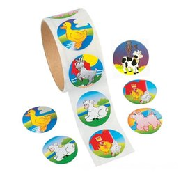 toy farm pigs NZ - 1 roll100 stickers Cute Cartoon Paper Stickers Rolls Farm Animal Rooster Other Toys Dairy Duck Duck Pig Sticker