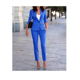 $enCountryForm.capitalKeyWord Australia - Customized spring and autumn new hot women's suit two-piece suit (jacket + pants) women's blue single button casual