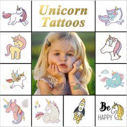 Painting Faces Australia - New Colorful Cartoon Unicorn Kids Tattoo Cute Fake Children Temporaire Body paint face tatto Waterproof Temporary Tattoo Sticker