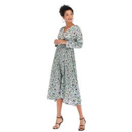 $enCountryForm.capitalKeyWord UK - Women's Clothing A Generation of V Collar Small Shredded Flower Pleated Chiffon Dress Waist Long Sleeve Bottom Skirt Girl