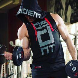 Wholesale Jersey Uniform NZ - Hooded Sleeveless Fitness Gym Vest Male Pure Cotton Loose Muscular Physique Vest Training Uniforms Basketball Jerseys