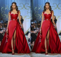 Special Occasion Dresses Elie Saab Australia - Elie Saab Haute Couture Red Evening Dresses Spaghetti A Line Side Split Prom Dress Formal Party Gowns Special Occasion Dress