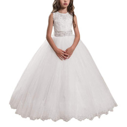 $enCountryForm.capitalKeyWord Australia - Full Length Cute Lace Lovely Flower Girl Dress For Wedding Kids Lace Pageant Ball Gowns Little Girl Bridesmaid Dress